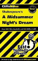 CLIFFSNOTES ON SHAKESPEARE´S A MIDSUMMER NIGHT´S DREAM